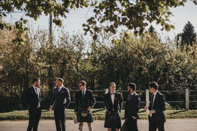 Groomsmen in Wool Suits and Tartan Kilts