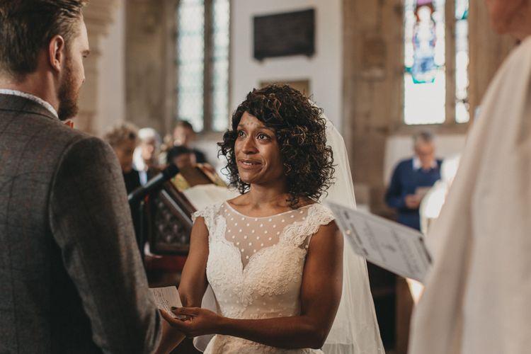 Emotional Bride During Church Wedding Ceremony Service