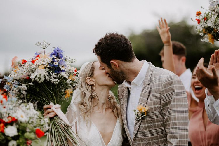 Wildflower bouquet for bride at micro wedding