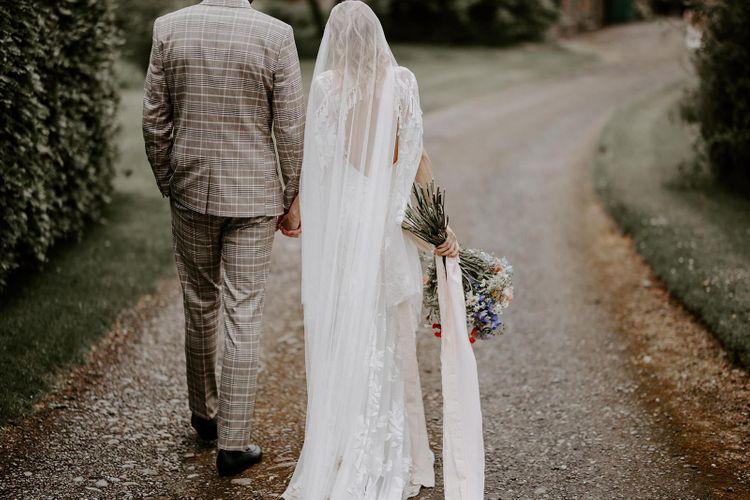 Low back Rue De Seine wedding dress at micro wedding
