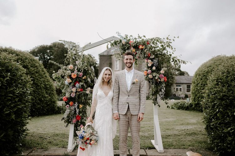 Wedding flower arch for outdoor ceremony in Ireland