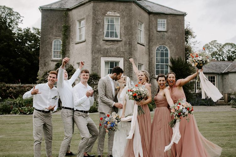 Wedding party pose at Ireland venue for micro wedding