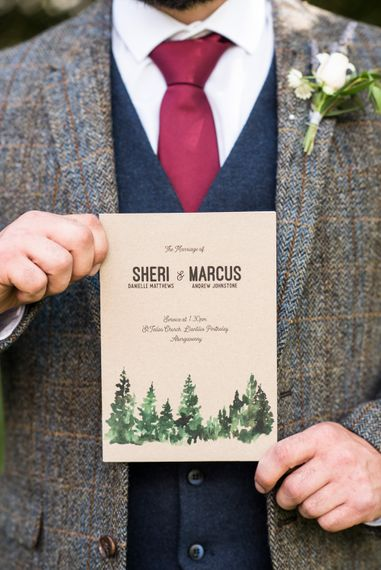 Rustic Wedding Stationery // Sugar Loaf Barn Wedding // Pale Grey Off The Shoulder Bridesmaids Dresses Rewritten // Groom In Harris Tweed // Hog Roast Evening Buffet // Eleanor Jane Photography