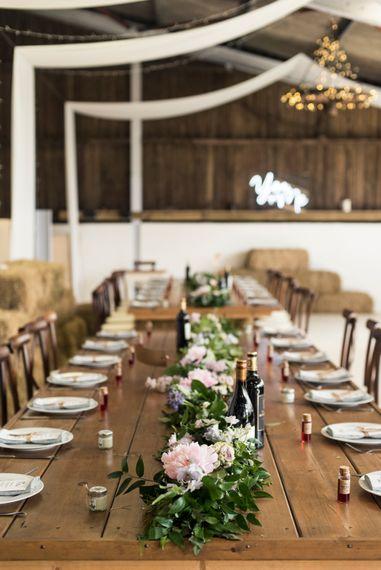 Rustic Wedding Decor // Sugar Loaf Barn Wedding // Pale Grey Off The Shoulder Bridesmaids Dresses Rewritten // Groom In Harris Tweed // Hog Roast Evening Buffet // Eleanor Jane Photography