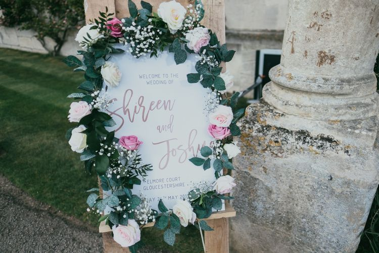 Wedding Welcome Sign with Floral Frame