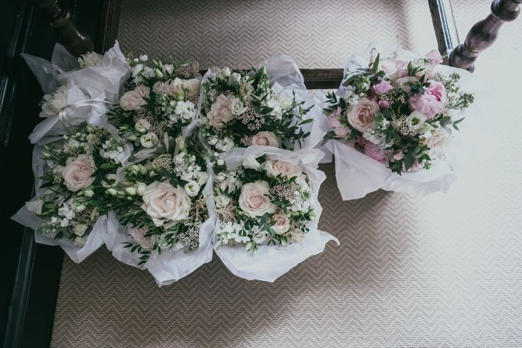 Romantic Pink and White Wedding Bouquets with Foliage