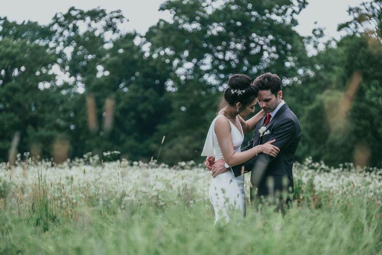 Bride with High Bun and Tilly Thomas Luxe Hair Clips