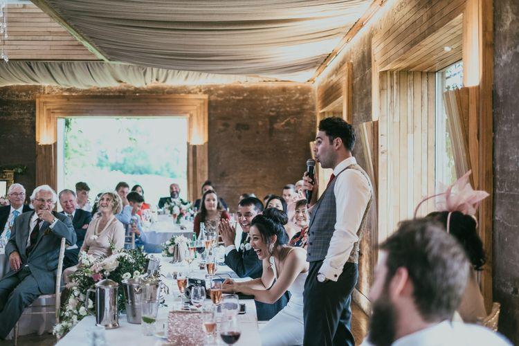 Groom Wedding Speech at the Gillyflower Reception Room at Elmore Court