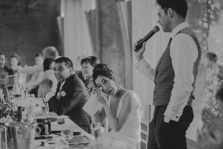 Emotional Bride During the Wedding Speeches