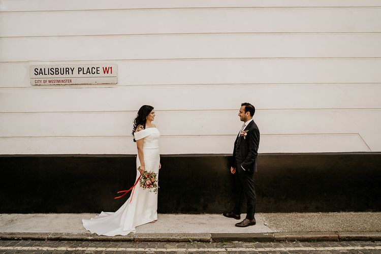 Bride and groom portrait in London