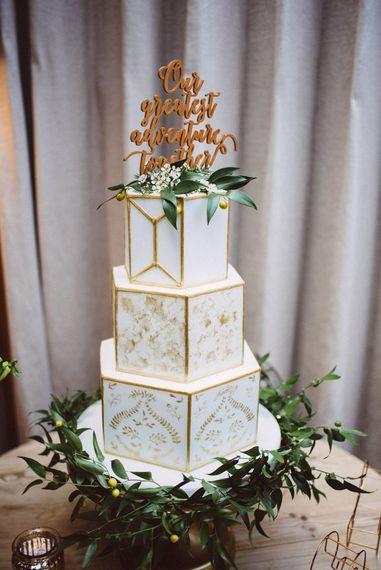 White & Gold Geometric Wedding Cake //  Images By Ed Godden Photography