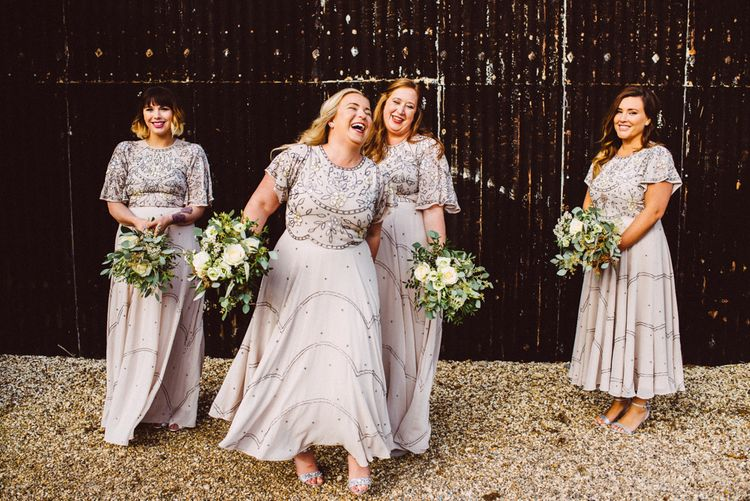 Wedding Party In Sequinned Dresses // Image By Ed Godden Photography