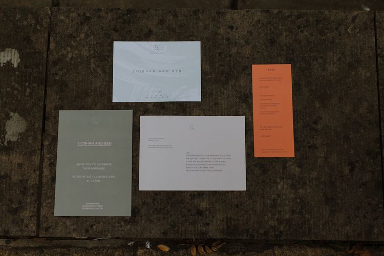 Modern Orange Grey and White Wedding Stationery Suite