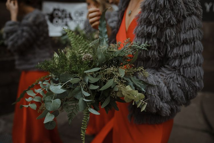 Greenery Bridesmaid Bouquet made of Different Foliage