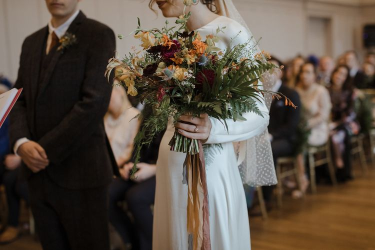 Autumnal Wedding Bouquet with Ribbons
