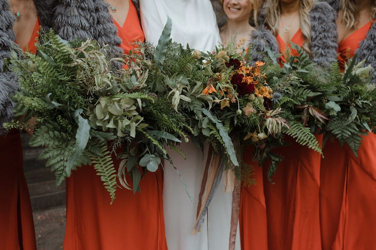 Wedding Bouquets with Foliage and Autumnal Florals