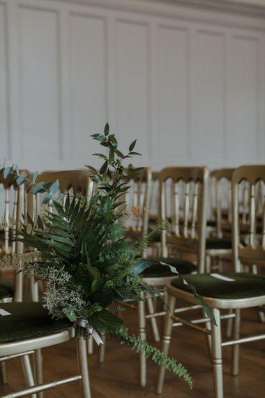 Foliage Aisle Chair Wedding Flowers