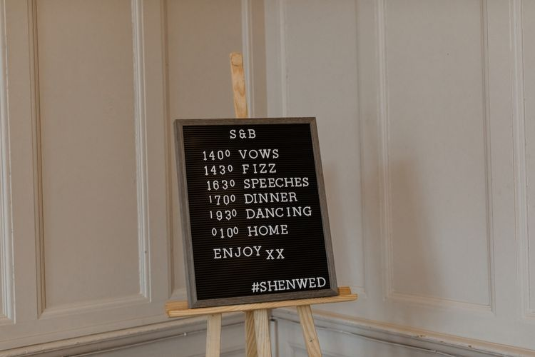 Peg Board Order of The Day Wedding Sign