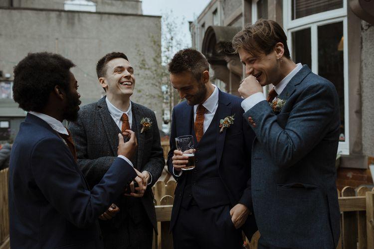 Groomsmen in Navy Blue Wool Heart & Dagger Suits