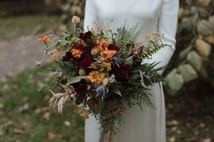 Autumn Wedding Bouquet with Burnt Orange and Red Flowers