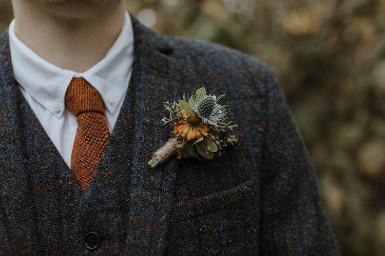 Autumn Buttonhole with Thistle