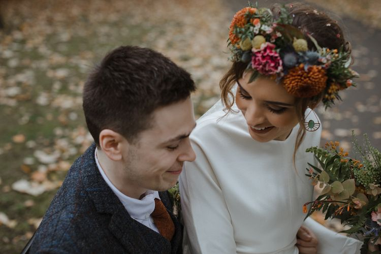 Bride with Orange, Red, Blue and Pink Flower Crown