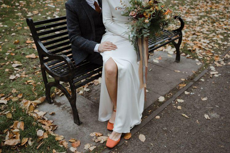 Front Split Charlie Bread Satin Wedding Dress