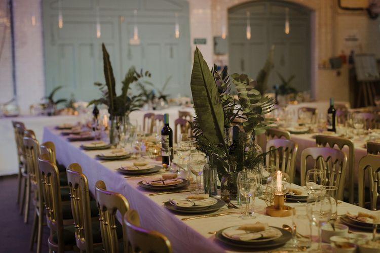 Gold and Green Wedding Reception Decor