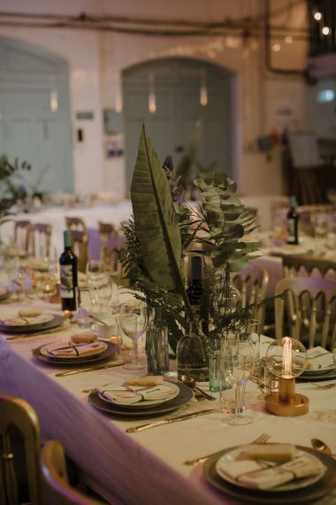 Foliage Stems in Bottles as Centrepieces