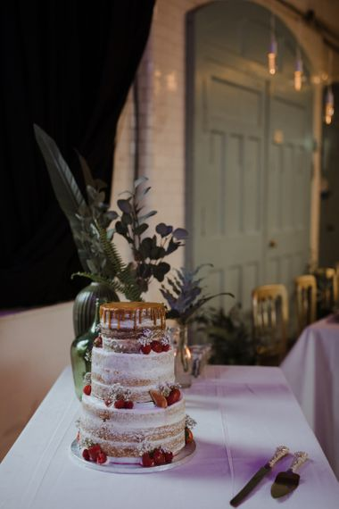 Semi Naked Wedding Cake with Drip Top and Strawberry Decor
