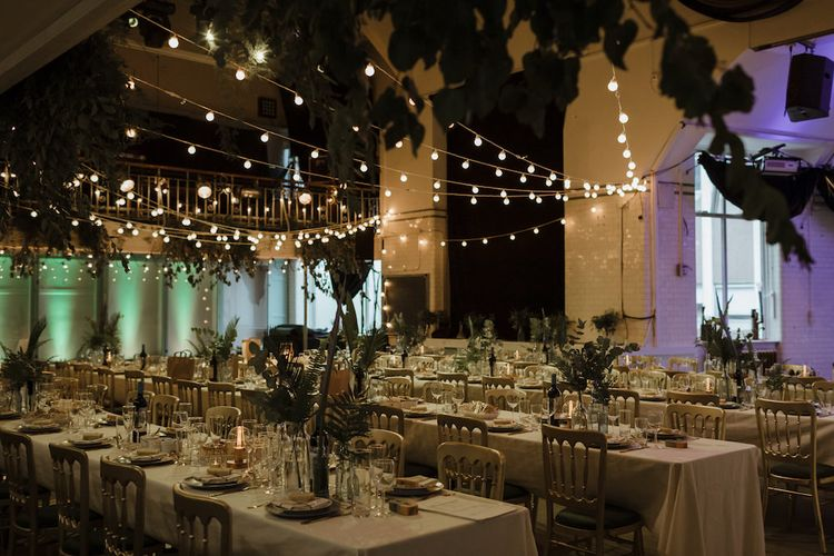 Gold and Green Reception Decor with Festoon Lights