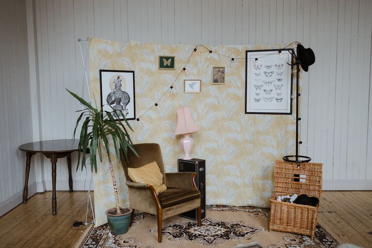 Photo Booth Back Drop with Vintage Chair,  Hat Stand and Festoon Lights
