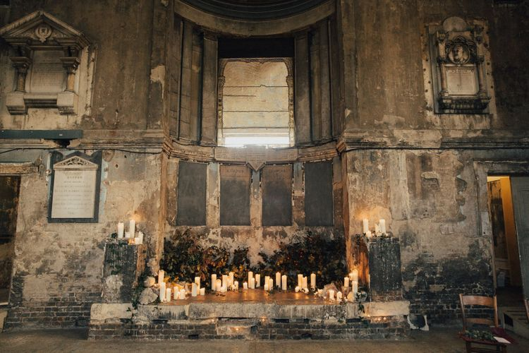 Asylum Chapel Decorated with Candles
