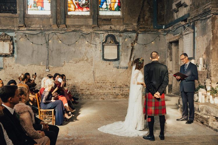 Wedding Ceremony at The Asylum with Bride in Bohemian Rue De Seine Wedding Dress and Groom in Red Tartan Kilt