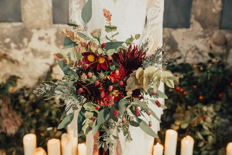 Red and Green Bridal Bouquet with Eucalyptus