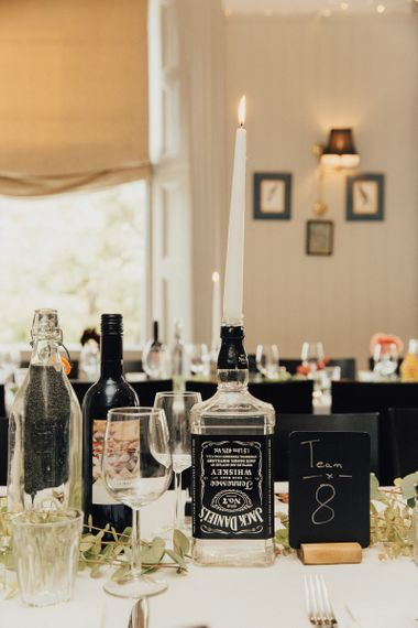Jack Daniels Bottle with Candle As Table Centrepieces