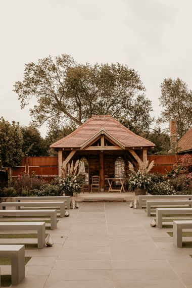 Outdoor ceremony at Southend Barns wedding venue