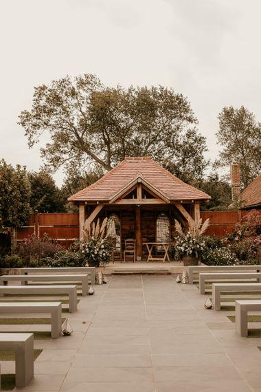 Outdoor ceremony at Southend Barns wedding venue