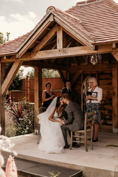 Intimate wedding ceremony at Southend Barns