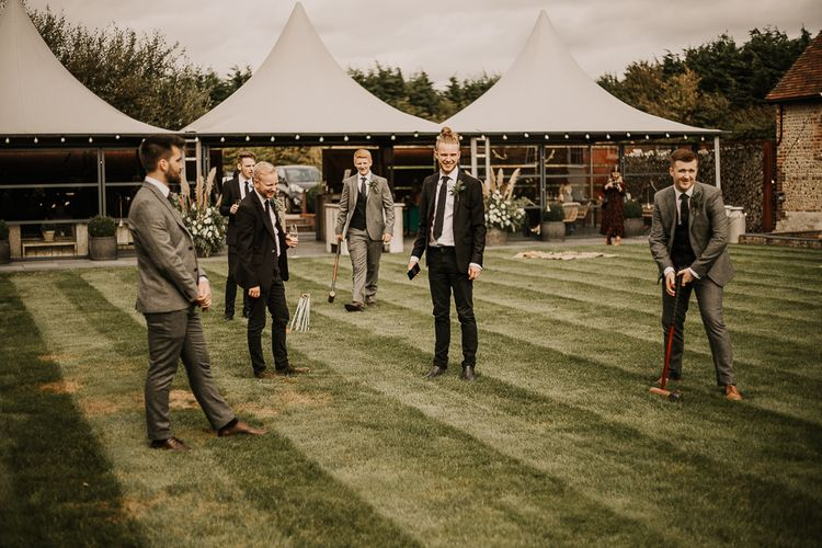 Croquet on the lawn at Southend Barns wedding venue