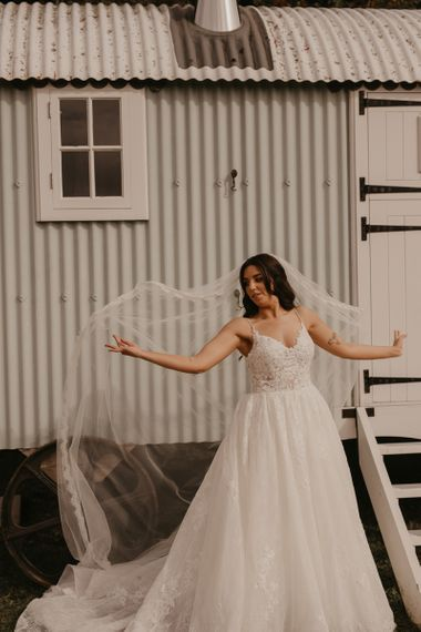 Bride in Enzoani wedding dress at Southend Barns wedding
