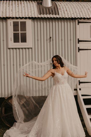 Bride in Enzoani wedding dress at Southend Barns wedding