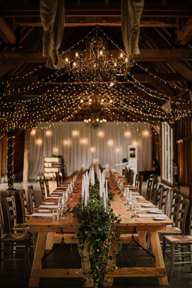 Fairy light covered wedding reception at Southend Barns