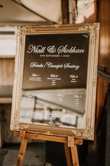 Micro seating plan in ornate frame