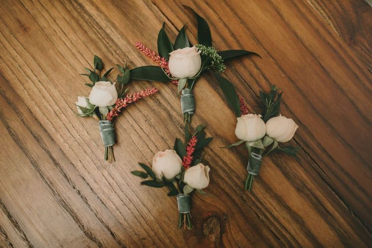 Pink Rose and Foliage Buttonholes