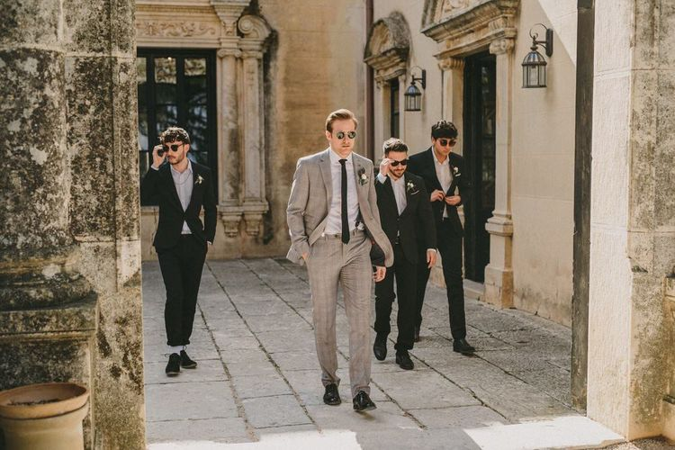 Groomsmen in Black and Grey Check Suits