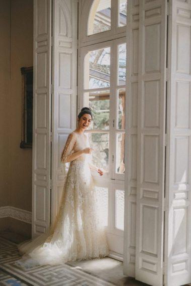Beautiful Bride in Delicate Lace Wedding Dress