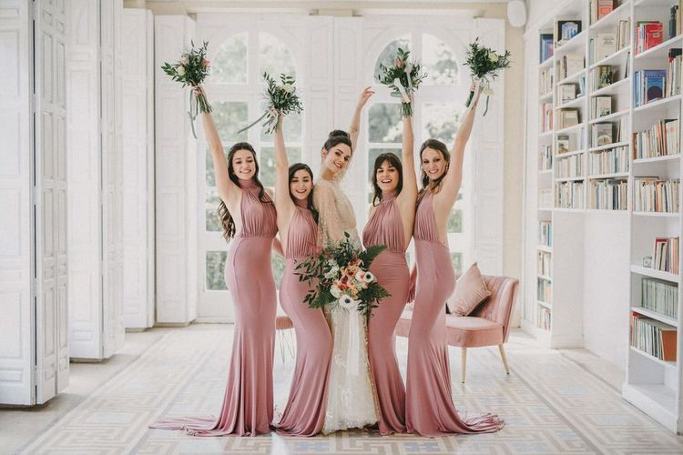 Bridesmaids in Pink Halterneck Dresses for Small Wedding