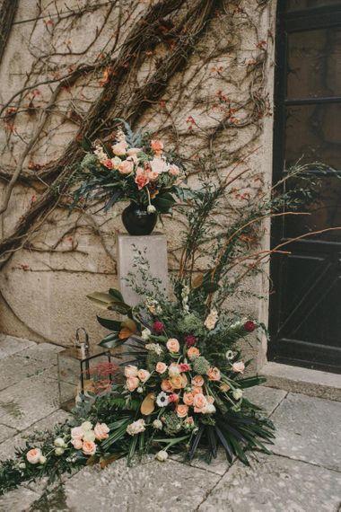 Romantic Pink and Green Wedding Flower Arrangement