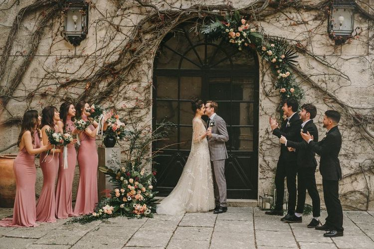 Small Wedding Ceremony with Bridesmaids and Groomsmen